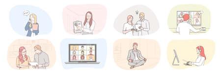 Business, meeting, partnership, brainstorming, meditation, communication, teamwork set concept. Collection businessmen women clerks managers work together planning strategy talking online illustration 矢量图像