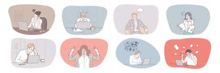 Business, face, expression, emotion, mental stress, frustration, depression, deadline, panic set. Collection of frustrated depressed businessmen women overworking in office having nervous breakdown.