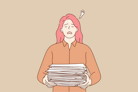 Overworking, depression, deadline, mental stress, business concept. Young frustrated upset businesswoman clerk manager character holding big pile of document. Fatigue because of overload illustration.