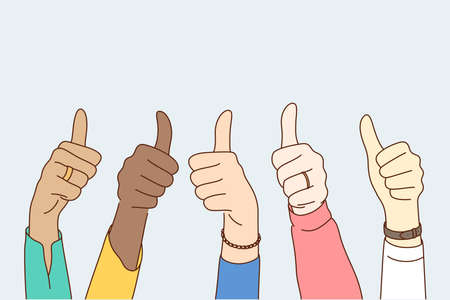 Success, approval, goal achievement, multiethnicity concept. Group multiethnic people happy clients hands showing approving ok sign or confirm with thumbs up. High level quality product customer rate. Ilustración de vector
