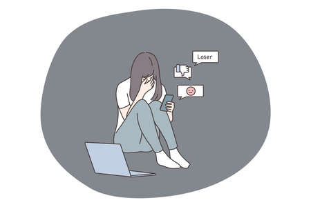 Depression, frustration, mental stress, anxiety concept. Suffering from bullying in social media network and bad news. Depressed frustrated crying woman teen student with mobile phone reading messages 矢量图像
