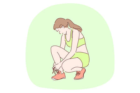 Sport, athletics, workout concept. Young happy woman teen athlete cartoon character tying shoelaces on sneakers outside preparing for race. Professional competition well being recreation illustration.