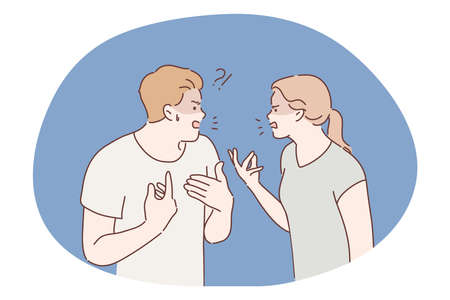 Family, quarrel, divorce, aggression, conflict concept. Angry aggressive couple man boyfriend woman girlfriend yelling and shouting together. Furious dispute discussion or disagreement illustration