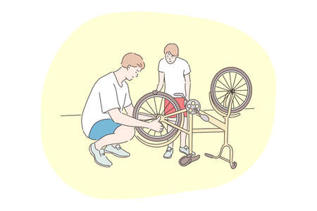 Family, cycling, repair, fathers day concept. Man father mechanic dad daddy helps youngster kid son teenager repairing fixing bike cycle wheel. Mechanical maintenance summertime and care illustration.