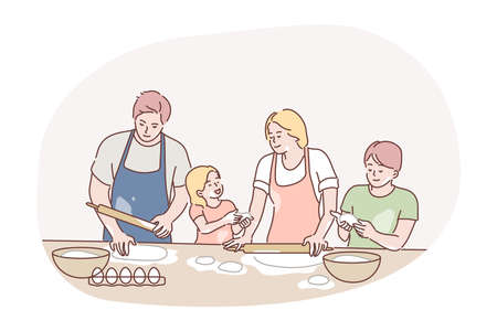Recreation, fatherhood, cooking, family day, motherhood concept. Family man dad woman mum children kids son daughter cookers preparing pie on kitchen together. House bakery on fathers and mothers day.