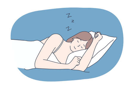 Sleep, rest, dream, nighttime, fatigue, nap, relax, bedroom concept. Sleepy calm smiling woman cartoon character sleeping lying down on bed at home in comfort. Rest comfortable relaxation illustration
