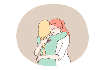 Jealousy, envy, hypocrisy concept. Envious jealous woman with dissatisfied angry facial expression embracing friend thinking about deceit. Distrust deception between close relatives false friendhip