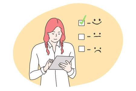Customer assessment, business, feedback concept. Smiling businesswoman consumer cartoon character giving excellent rank comment for online survey. Marketing research and client experience illustration
