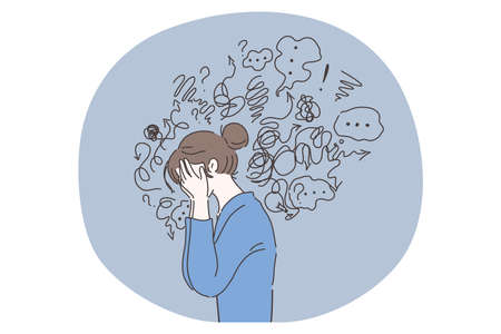 Headache, depression, anxiety concept. Vector illustration. Crying woman suffering fatigue from frustration depression complex psychological disease. Mental stress panic mind disorder illustration.