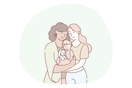 Motherhood, women generations in family concept. Smiling women grandmother, mother and little daughter on hands standing together and felling love and tenderness. Mother, daughter, togetherness, care