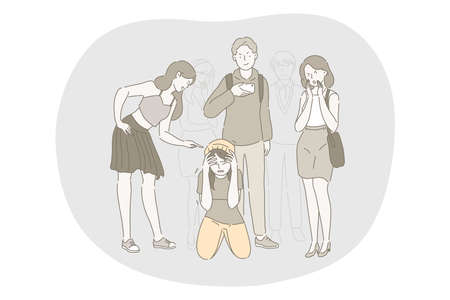 School abuse, harassment, bullying, aggression concept. Group of angry teenagers classmates cartoon characters pointing and abusing sitting on floor unhappy scared depressed girl in school