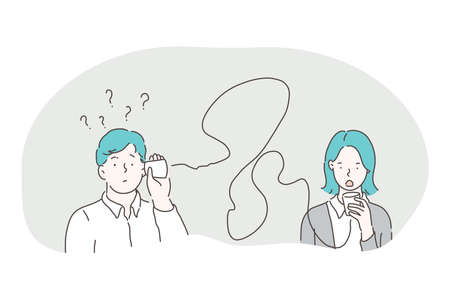 Misunderstanding, connection, communication problems concept. Young frustrated couple man and woman speaking and listening through glasses with wires and feeling misunderstanding between each other