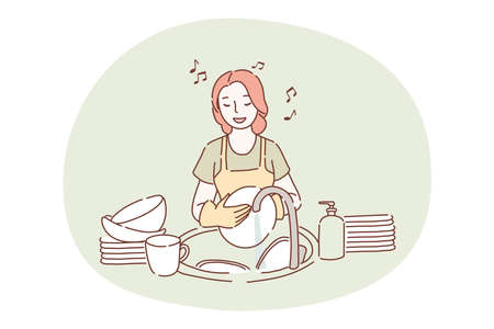Washing dishes, housework, cleaning concept. Young smiling woman cartoon character in apron and gloves standing, washing heap of dishes in sink in kitchen and singing song alone. Maid, housekeeper