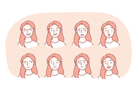 Different emotions and variety of facial expressions concept. Set of female faces expressing various emotions anger, happiness, frustration, surprise, crying, sadness, winking, flirt, grief