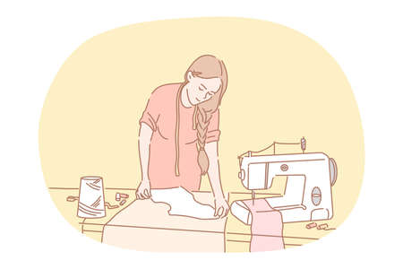 Sewing, dressmaking, atelier, designer concept. Young woman cartoon character dressmaker sewing clothes with sewing machine and equipment in studio. Seamstress, clothing, fashion, needlework, sewer