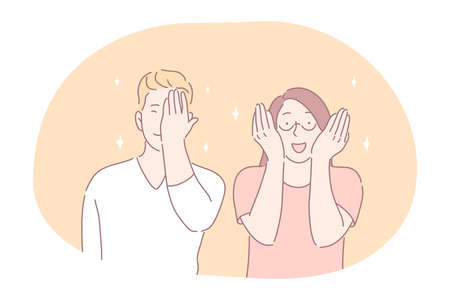 Flirting, embarrassment in couple concept. Young smiling girl and boy cartoon characters teens covering eyes and face with hands feeling positive embarrassment during communication and dating Stock Illustratie