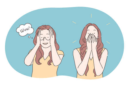 Surprise, positive shock, amazement, astonishment concept. Young girl cartoon character covering face and mouth with hands and expressing surprise and emotional amazement. Hearing sudden great news