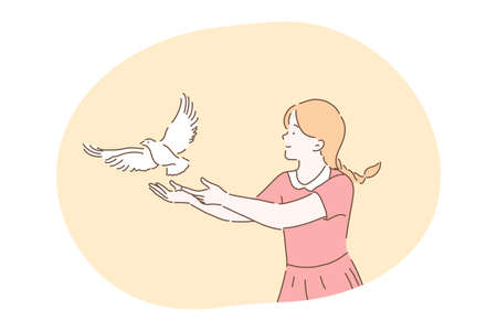 Freedom, peace, harmony, release, kindness concept. Young kind smiling girl cartoon character in dress standing and letting white pigeon dove bird fly from hands in park outdoor releasing letting go