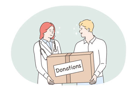 Donation, charity, humanitarian help concept. Young woman doctor and man volunteer cartoon characters standing and holding big box with donations in hands. Volunteering, support, assistance
