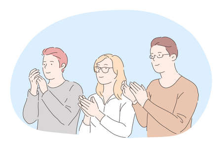 Applauding, support, congratulation concept. Three young positive people cartoon characters standing, looking aside and applauding with hands to partner or colleague. Applause, clapping, approval