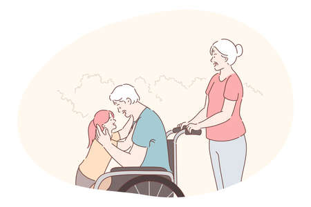 Disabled people on wheelchair living happy active lifestyle concept. Smiling disabled elderly man grandfather cartoon character in wheelchair embracing his granddaughter with loving wife behind