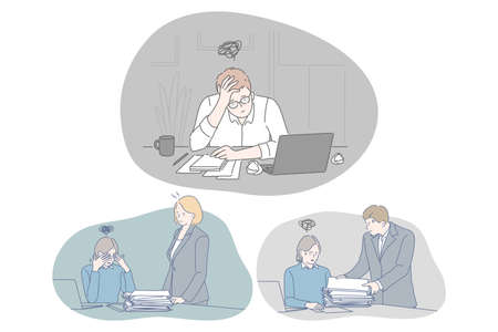 Stress, overwork, exhaustion, depression, overload concept. Unhappy depressed young people office workers sitting with heap of documents and much work and feeling stressed and tired in office Çizim