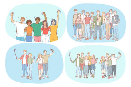 Friendship, students, communication, mates, education, university, friends concept. Group of happy smiling people friends teens having fun, standing with books, making selfie together