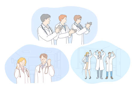 Medicine, doctors, success, teamwork, achievement, thanking concept. Young people doctors in white uniform showing successful achievement, applauding and feeling happy in medical clinic office