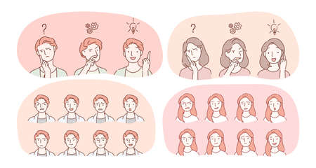 Emotions, facial expression variety concept. Male and female face with various positive and negative expressions showing frustration, enlightenment, sadness, aggression, happiness, brooding, surprise Ilustração