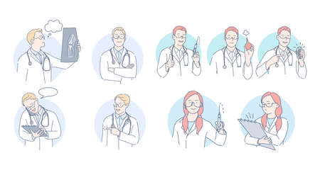 Medicare, healthcare, doctors and therapist during work concept. Professional doctors men and women cartoon characters in white medical uniform making examination and treatment procedures during work Çizim