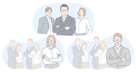 Teamwork, leadership, business concept. Smiling young business people partners office coworkers standing in teams and looking at camera in official clothing together vector illustration