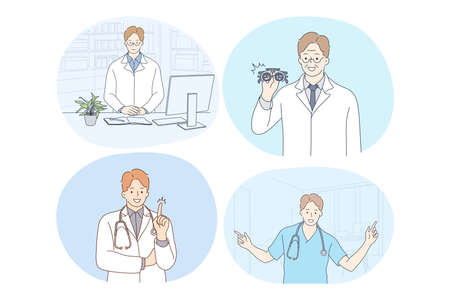 Doctor, medicine, healthcare, therapist, medicare, clinic concept. Young smiling men doctors in white uniform cartoon characters consulting patients, having idea, enjoying work, showing equipment Çizim