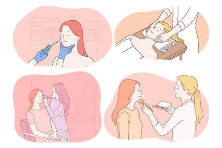 Cosmetology, dermatology, make up, massage, skincare concept. Young women cartoon characters getting procedures of beauty injection, facial massage, professional make up from doctors and beauticians