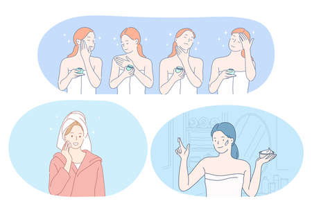 Beauty, cosmetics, make up, skincare, wellness concept. Young smiling women cartoon characters using face cream, lotion, peeling, facial mask and moisturiser for everyday use. Dermatology, cosmetology