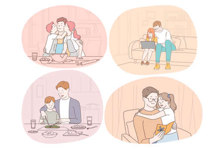 Family care, fatherhood, childhood, reading, leisure concept. Man father daddy coach parent playing with son and daughter reading eating cooking drawing together. Fathers day, love, care, dad