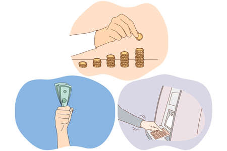 Money savings, earning financial wealth concept. Hands of people making stacks of golden coins, holding heap of cash, making withdrawal on atm machine. Finance, payment, credit, investing illustration