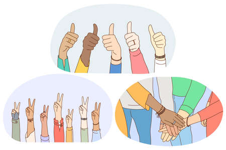 Sign and gesture language, hands emotion expression concept. Hands of mixed race people showing thumbs up sign, peace fingers sign and making heap of hands showing teamwork and mutual support 向量圖像
