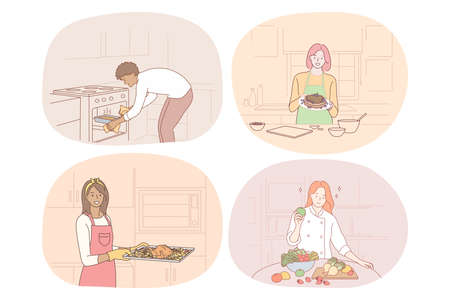 Cooking, baking, recipe, chef, cook, food concept. Young people men and women cooking food at home, baking, making healthy dishes and enjoying time in kitchen vector illustration. Gourmet, homemade 矢量图像