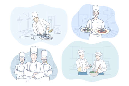 Cooking, chef, restaurant, recipe, food concept. Young positive people men and women professional cooks in aprons cooking various dishes and meals in restaurants. Gourmet, delicious, tasty menu 矢量图像