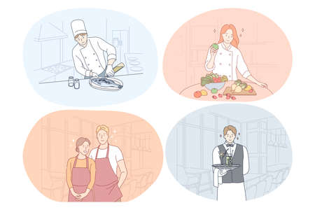 Restaurant worker, cook, chef, waiter, barista concept. Young positive men and women restaurant workers in uniform and aprons cooking, serving food and drinks, waiting for guests during working day
