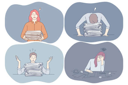Stress, overwork, exhaustion, overload concept. Unhappy depressed young office workers sitting with heap of documents and much work and feeling stressed and tired in office vector illustration