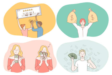 Money, wealth, jackpot concept. Young happy people cartoon characters holding check for big amount of money, sacks with cash, heaps ob banknotes and earning good salary. Cash finance savings