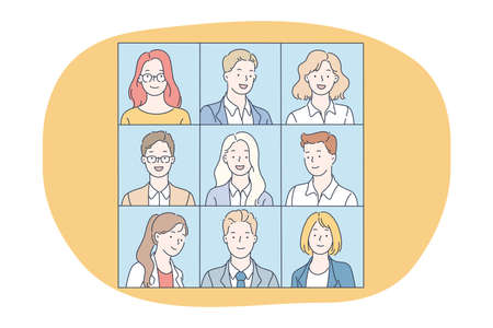 Portraits, classmates, photo album concept. Faces of positive people business office workers cartoon characters smiling on shots. Teamwork, business people, group, unity coworkers, partners vector Vetores