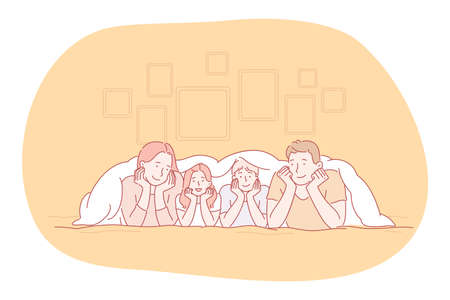 Happy family, parenthood, children concept. Young smiling parents and children family lying relaxing in bed and having fun together at home. Togetherness, happiness, childhood illustration