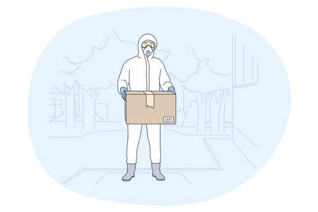 Contactless delivery, courier, online order concept. Man courier deliveryman in protective costume with mask delivering parcel to customer during epidemic of coronavirus. Parcel, logistics in pandemic 矢量图像