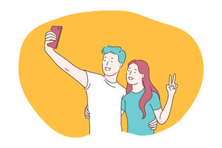 Selfie, smartphone, photograph vector illustration. Smiling young couple showing peace and making selfie on smartphone for sharing in social media. Lifestyle, photo, shot, sharing, stories, online