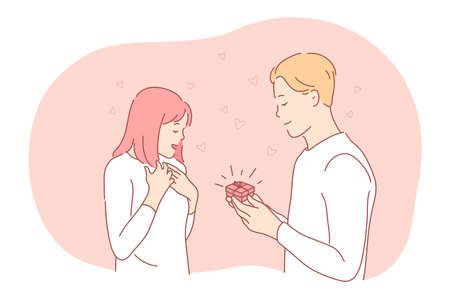 Proposal, engagement, couple togetherness concept. Young loving happy boyfriend cartoon character making proposal with ring in red box to surprised girlfriend. Couple enjoying time together