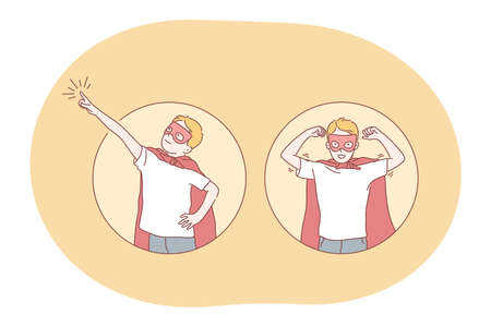 Superhero, superman, power concept. Young smiling boy child in red superman costume mantle and mask imagining superpower and leadership. Fantasy, imagination, justice, strength, champion illustration