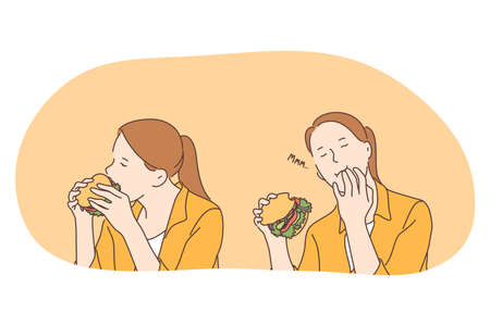 Unhealthy eating, fast and junk food, calories concept. Young positive girl cartoon character enjoying eating fast food hamburger or cheeseburger with hands. Overweight, snack, harmful eating
