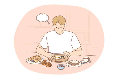 Healthy food, clean eating, nutrition concept. Young positive man cartoon thinking about benefits of healthy balanced breakfast at home with toasts and fruits. Wellness, bodycare